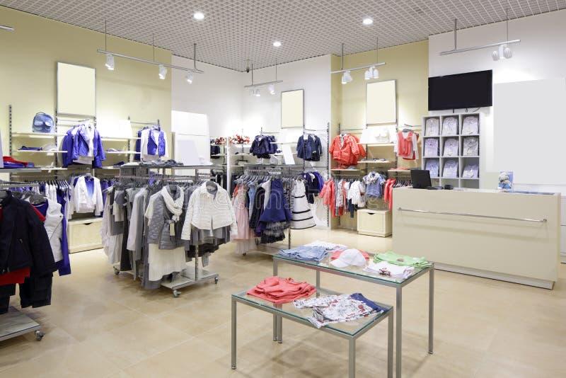 Brandnew wnętrze dzieciaka sukienny sklep obrazy royalty free