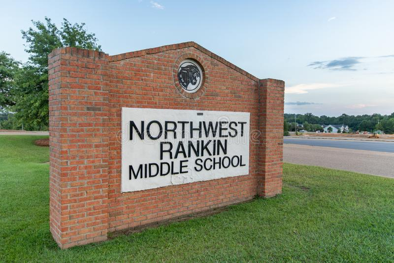 Sign for Northwest Rankin Middle School, in Rankin County Mississippi royalty free stock image
