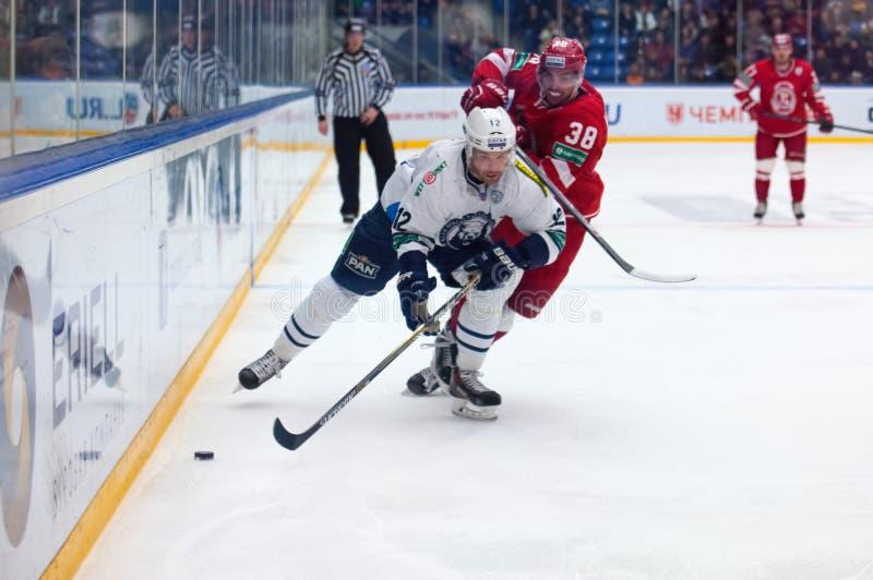 Brandon Segal (12). MOSCOW - JANUARY 10: Brandon Segal (12) in action on hockey game Vityaz vs Medvezchak on Russian KHL premier hockey league Championship on royalty free stock photography
