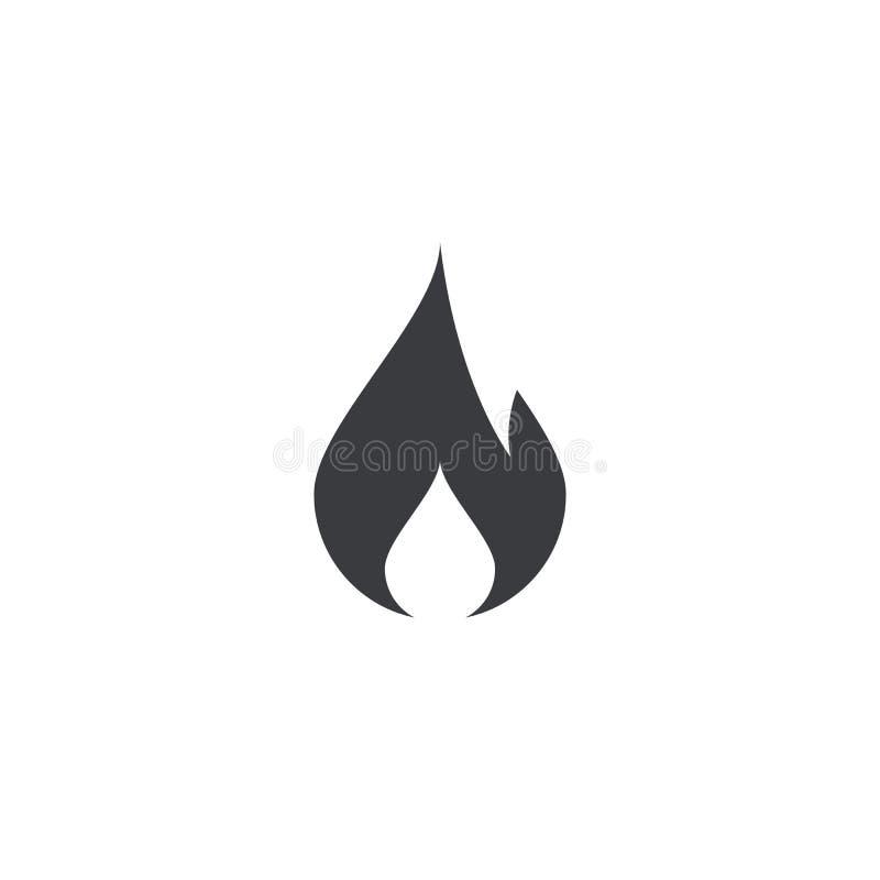 Brandpictogram brandvorm Het pictogram van toestellen Vlamsymbool Brandwondteken Tendensknoop Element voor de mobiele toepassing  vector illustratie