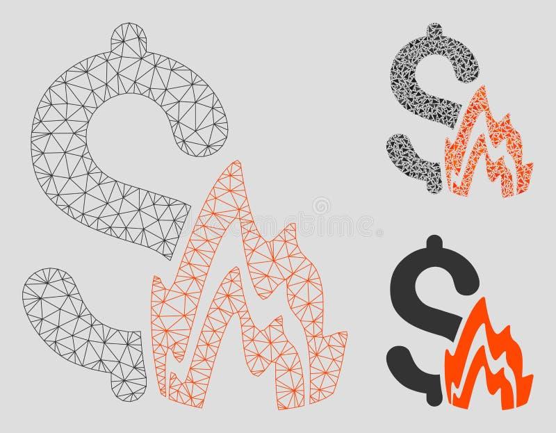 Brandramp Vector het Mozaïekpictogram van Mesh Network Model en van de Driehoek royalty-vrije illustratie