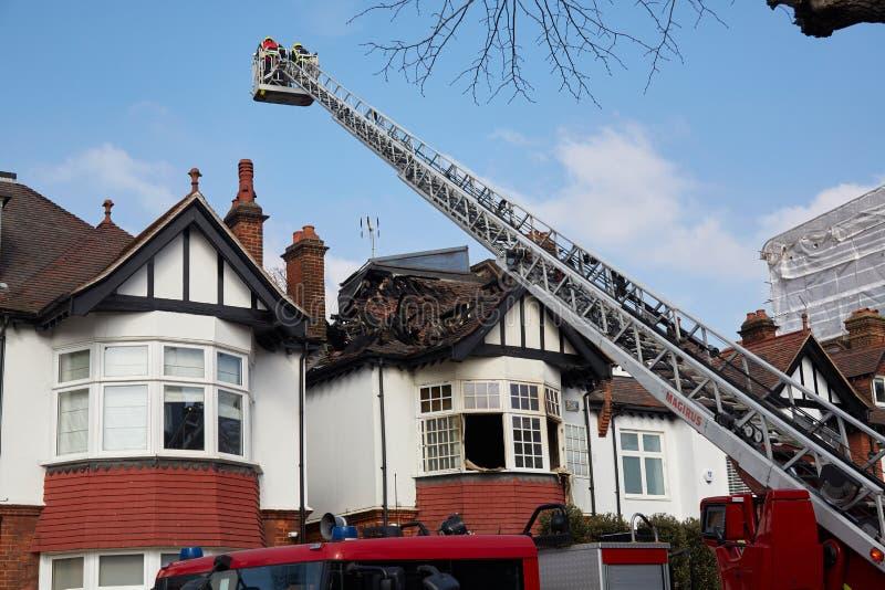 Brandreactie in Londen, het UK royalty-vrije stock foto