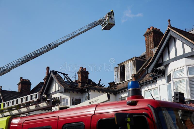 Brandreactie in Londen, het UK stock foto