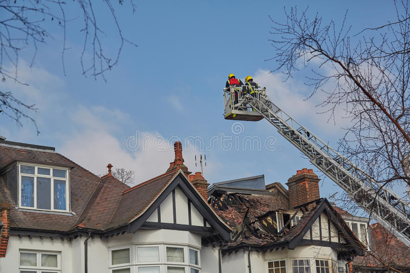 Brandreactie in Londen, het UK stock afbeelding