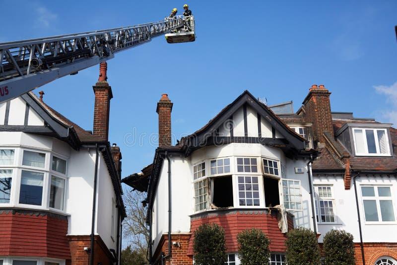 Brandreactie in Londen, het UK royalty-vrije stock fotografie
