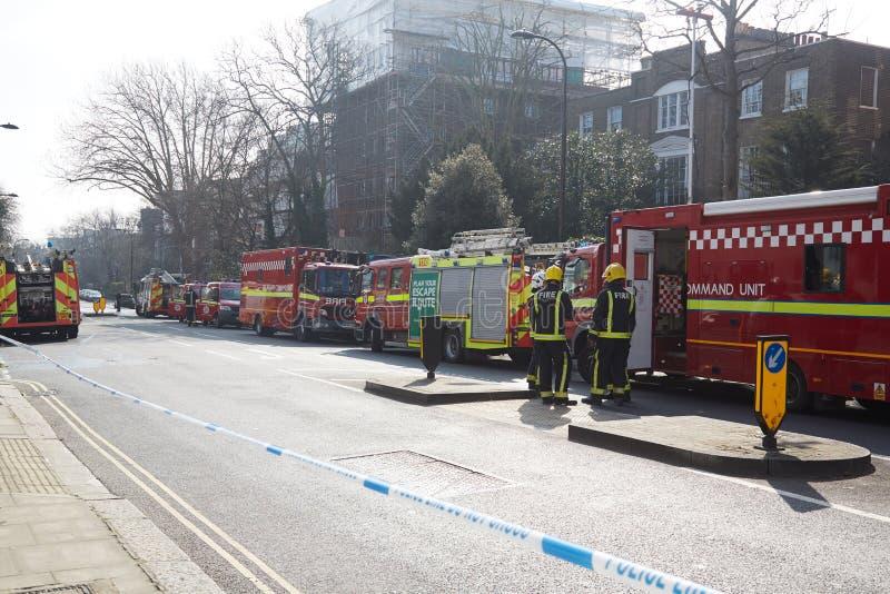Brandreactie in Londen, het UK royalty-vrije stock afbeeldingen