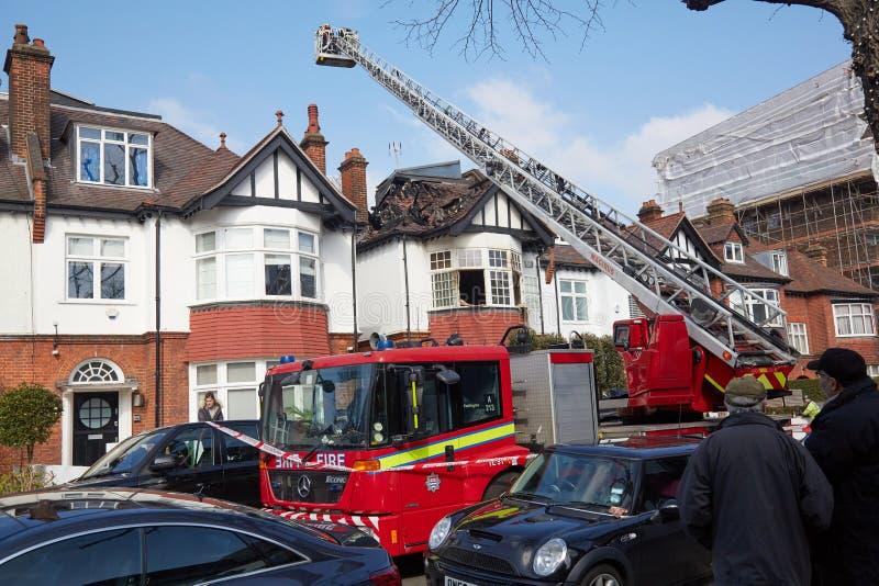 Brandreactie in Londen, het UK stock afbeeldingen
