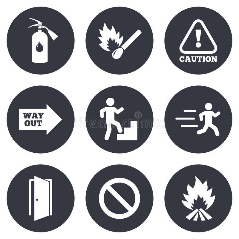Brandsäkerhet, nöd- symboler Eldsläckaretecken vektor illustrationer