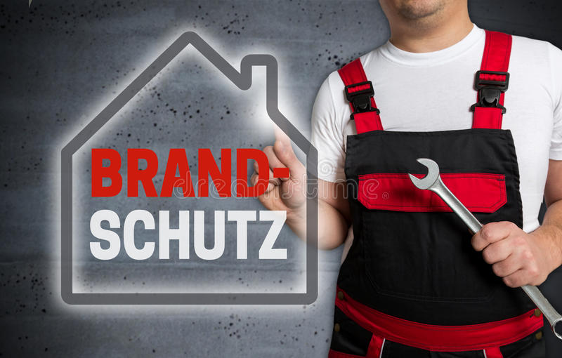 Brandschutz in german Fire protection with house touchscreen i. S operated by technician stock photography