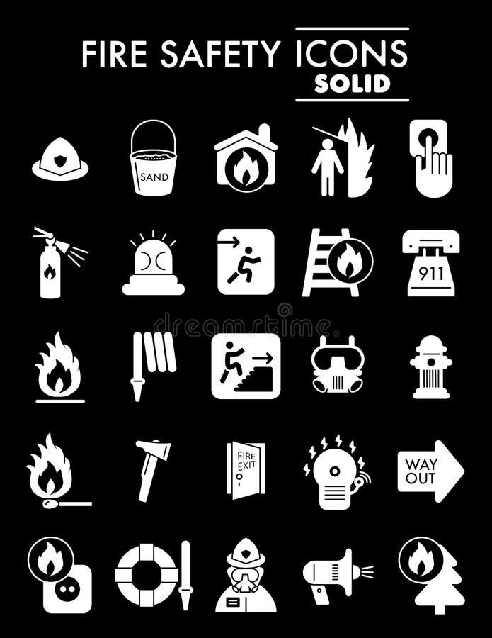 Brandschutz Glyph-Ikonensatz, Notsymbole Sammlung, Vektorskizzen, Logoillustrationen, Warnung unterzeichnet Körper vektor abbildung