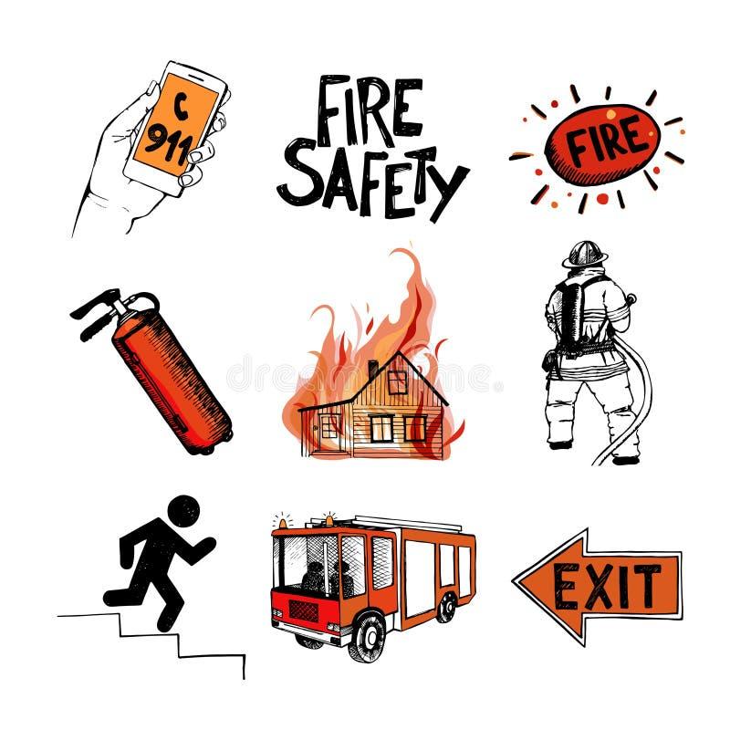 Brandschutz und Durchschnitte der Rettung Ikonen eingestellt lizenzfreie abbildung
