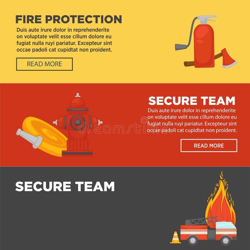 Brandskydd och för lagrengöringsduk för brandman säkra baner sänker designmallen royaltyfri illustrationer