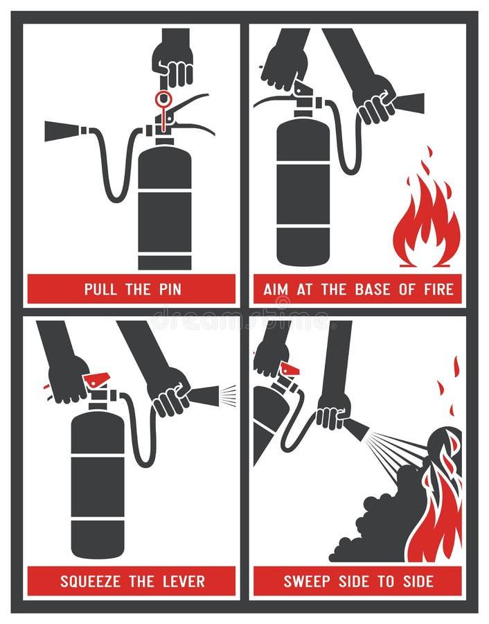 Brandsläckareetikett vektor illustrationer