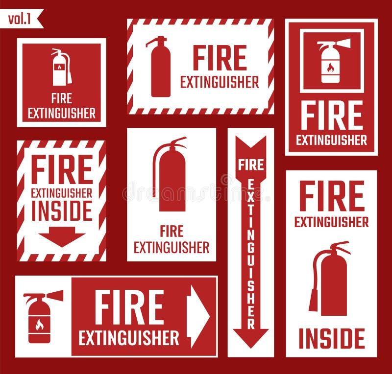 Brandsläckareetiketter och tecken royaltyfri illustrationer