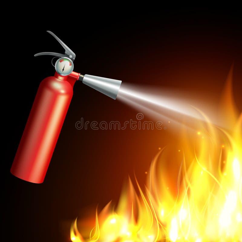 Brandsläckareillustration stock illustrationer
