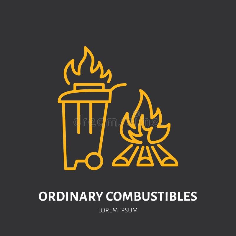 Brandsläckarelägenhetlinjen tecknet av vanliga combustibles avfyrar typ Tunn linjär symbol för flammaskydd, pictogram stock illustrationer