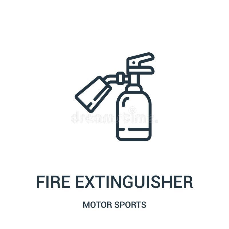 brandsläckaresymbolsvektor från samling för motorsportar Tunn linje illustration för vektor för brandsläckareöversiktssymbol linj vektor illustrationer