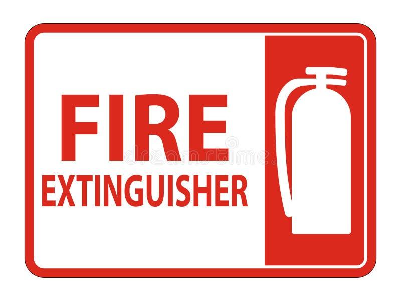 Brandsläckareteckenisolat på vit bakgrund, vektorillustration EPS 10 stock illustrationer