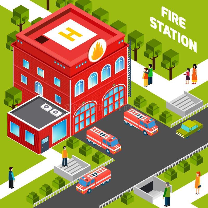 Brandstation som bygger isometriskt begrepp royaltyfri illustrationer