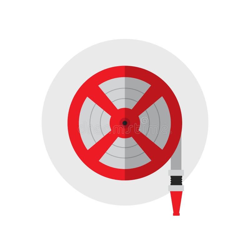 Brandstation, symbol för rulle för brandslang Enkel symbol för konturbrandutrustning också vektor för coreldrawillustration Plan  stock illustrationer