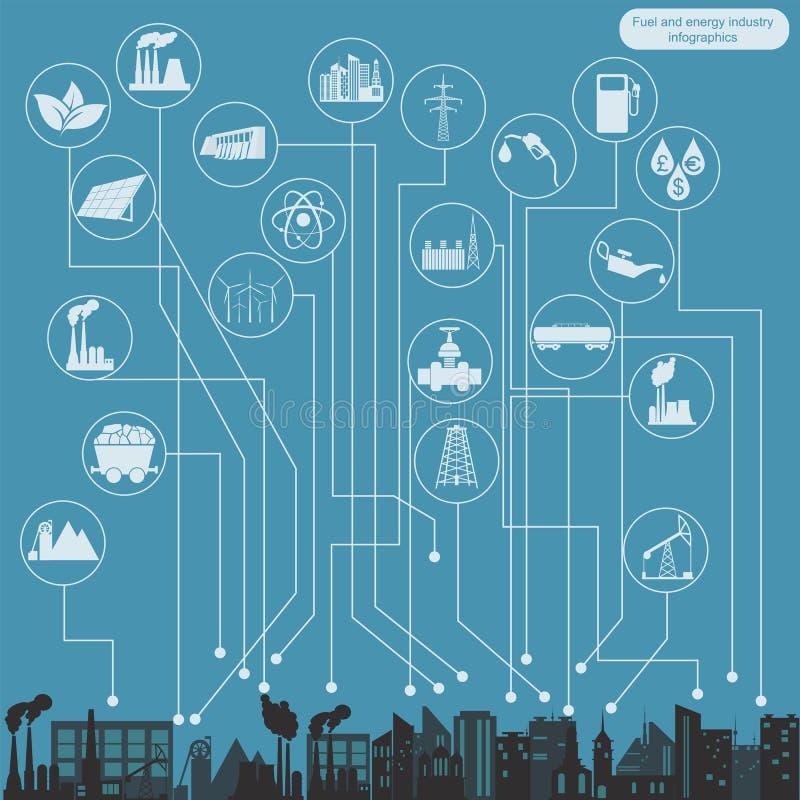 Brandstof en energie de industrie infographic, vastgestelde elementen voor het creëren royalty-vrije illustratie