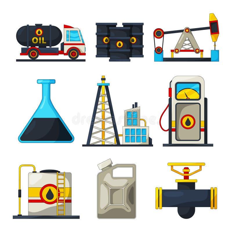 Brandstof en gas de industrie Vectorpictogramreeks van aardolie en gas stock illustratie