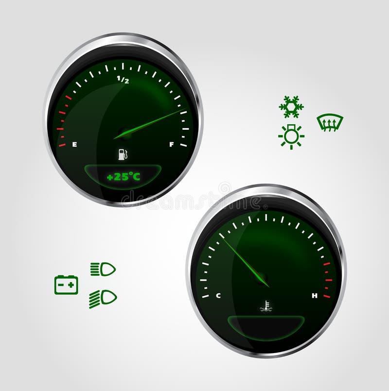 brandstof en temperatuurcontrole van dashboardauto royalty-vrije illustratie