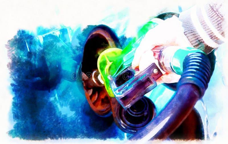 Brandstof van de mensen de pompende benzine in auto bij benzinestation Het concept van het vervoer computer het schilderen effect royalty-vrije illustratie