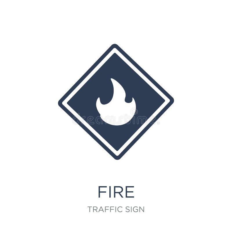 brandteckensymbol Moderiktig plan symbol för vektorbrandtecken på vit backg royaltyfri illustrationer