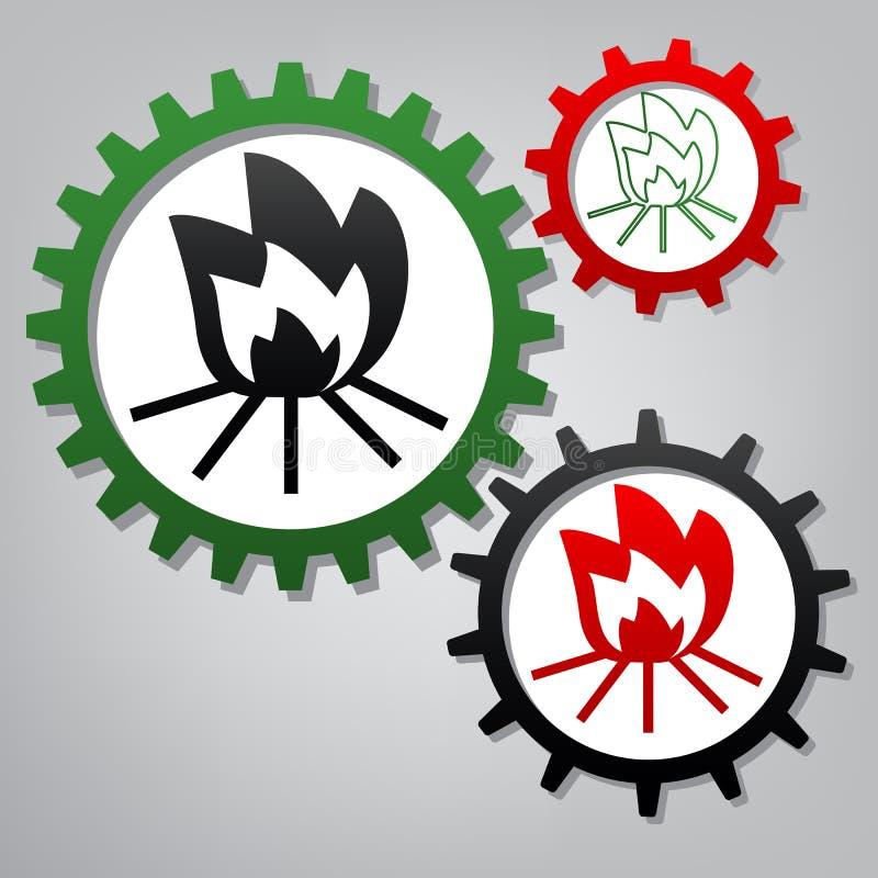Brandteken Vector Drie verbonden toestellen met pictogrammen bij grijsachtige B vector illustratie