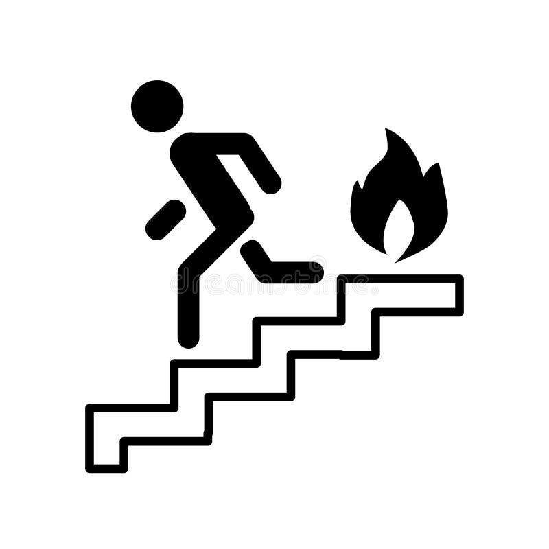 Brandtrap, ladder, mens, het pictogram van de brandlijn Vectordieillustratie op wit wordt geïsoleerd het ontwerp van de overzicht stock illustratie