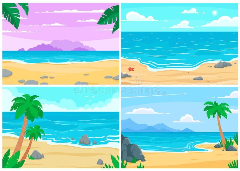 Brandung, Sand und Steine Ozean- oder Seeufer, Strände gestalten und Tagessandstrandkarikaturvektor-Hintergrundillustration lands vektor abbildung
