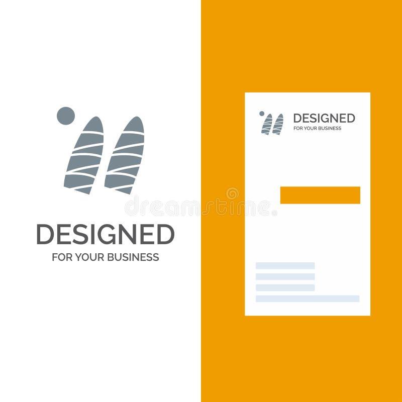 Brandung, Surfen, Wasser, Sport Grey Logo Design und Visitenkarte-Schablone vektor abbildung