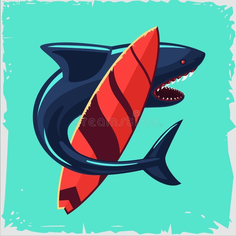 Brandung und Haifisch Weinleseplakat mit Surfbrett lizenzfreie abbildung