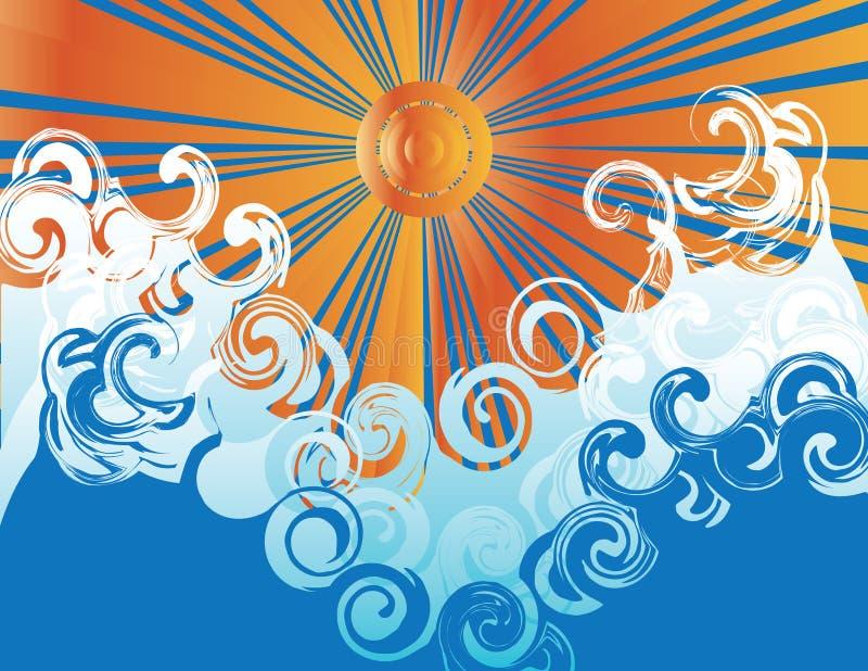 Brandung und Sun vektor abbildung