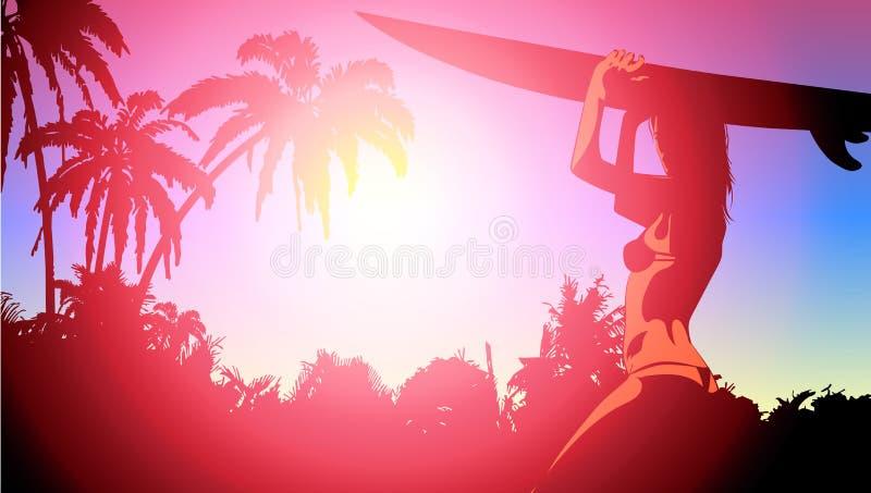 Brandungsbrett und junge hübsche Frauenbikini- und -palmen Nett, als Teil Ihrer Auslegung zu verwenden stock abbildung