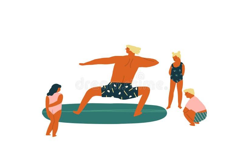 Brandungslektion mit den Lehrerunterrichtskindern, die Illustration im Vektor surfen Bildung des Kinderkonzeptes stock abbildung
