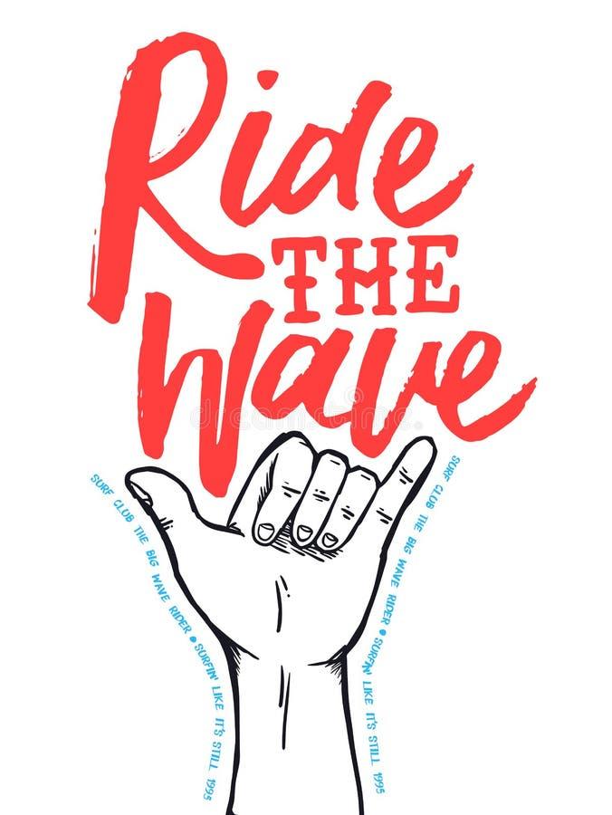 Brandungsshop-Plakatzitat mit Hand gezeichnetem shaka Zeichen stock abbildung