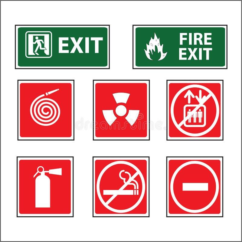 Brandutrustning undertecknar vektorn arkivfoto