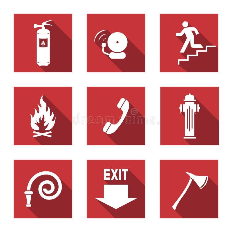 Brandvarningsuppsättning royaltyfri illustrationer