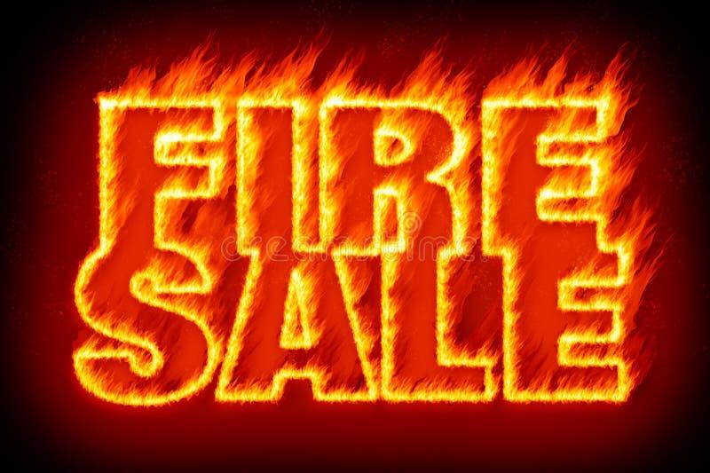 Brandverkoop in vlammen royalty-vrije illustratie