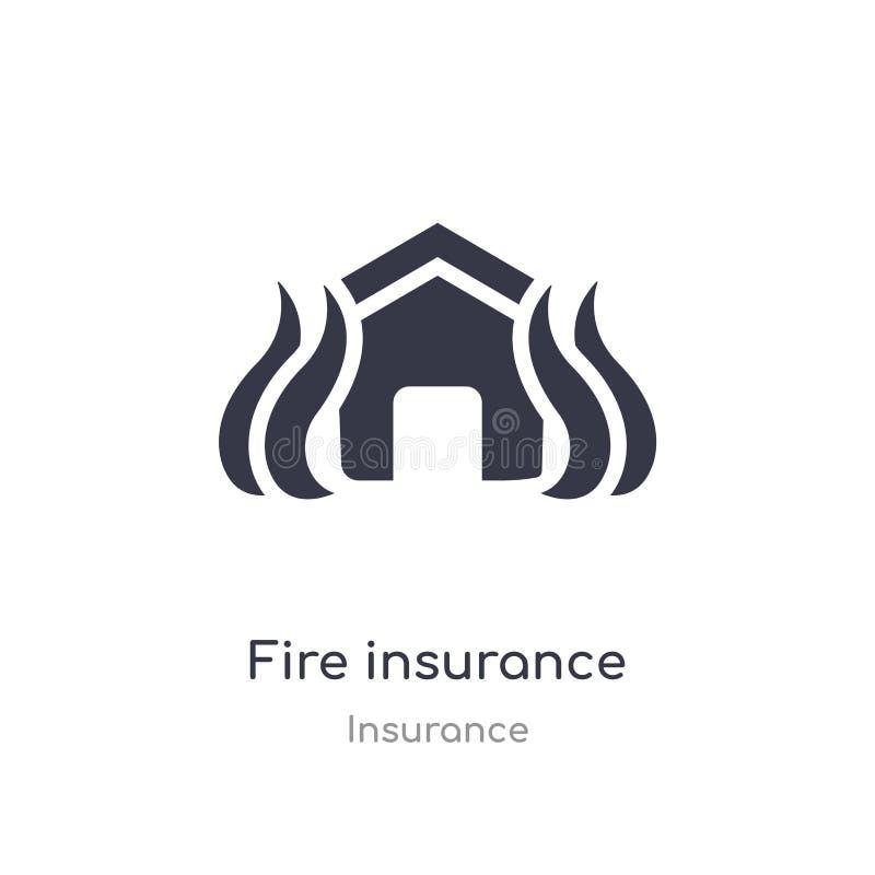 Brandverzekeringpictogram de geïsoleerde vectorillustratie van het brandverzekeringpictogram van verzekeringsinzameling editable  vector illustratie