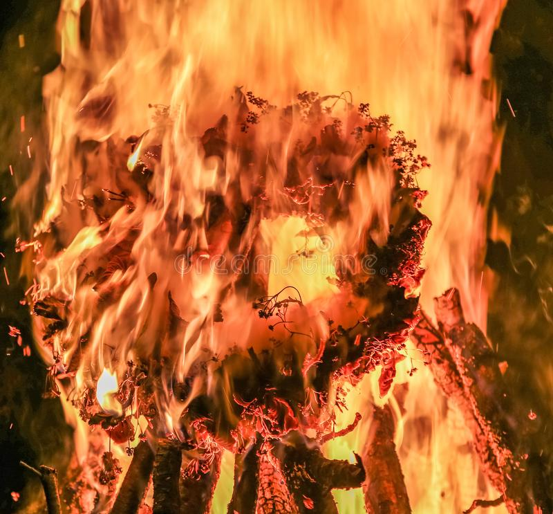 Brandvlam, brandende brandhout en kroon stock fotografie