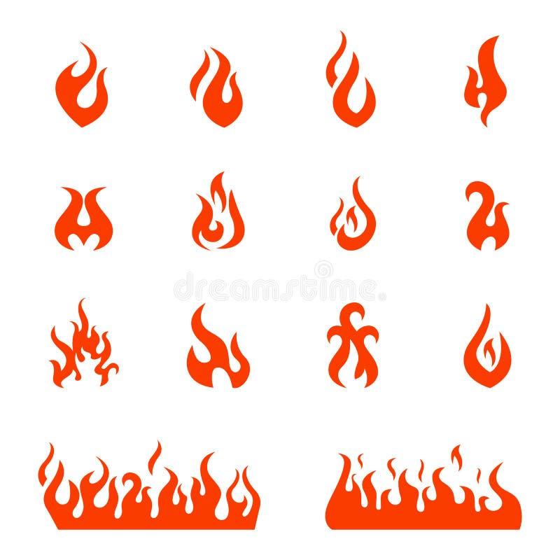 Brandvlammen, vastgestelde pictogrammen, vectorillustratie vector illustratie
