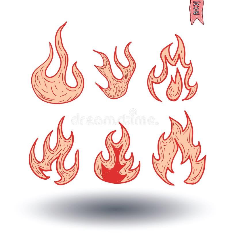 Brandvlammen, vastgestelde pictogrammen, vectorillustratie stock illustratie
