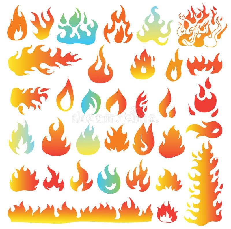 Brandvlammen, vastgestelde pictogrammen, vectorillustratie royalty-vrije illustratie