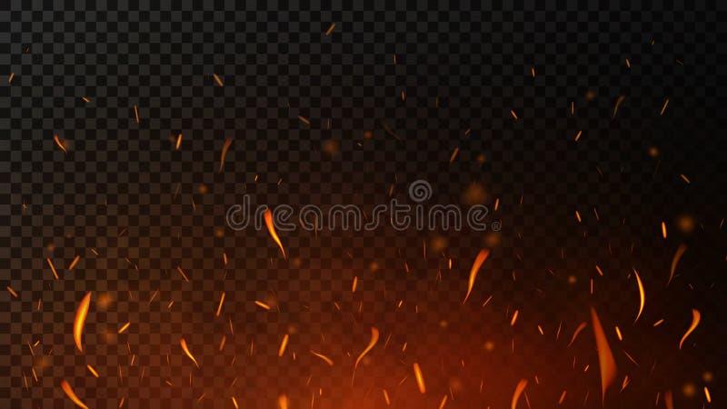 Brandvonken op donkertransparante achtergrond Vliegende vonken, brandende branddeeltjes met rooktextuur royalty-vrije stock foto's