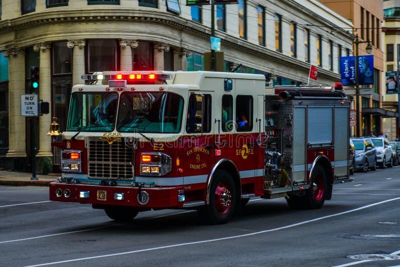 Brandvrachtwagen, de afdeling van San Francisco royalty-vrije stock foto's