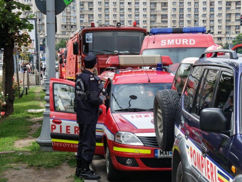 Brandvrachtwagens stock foto's