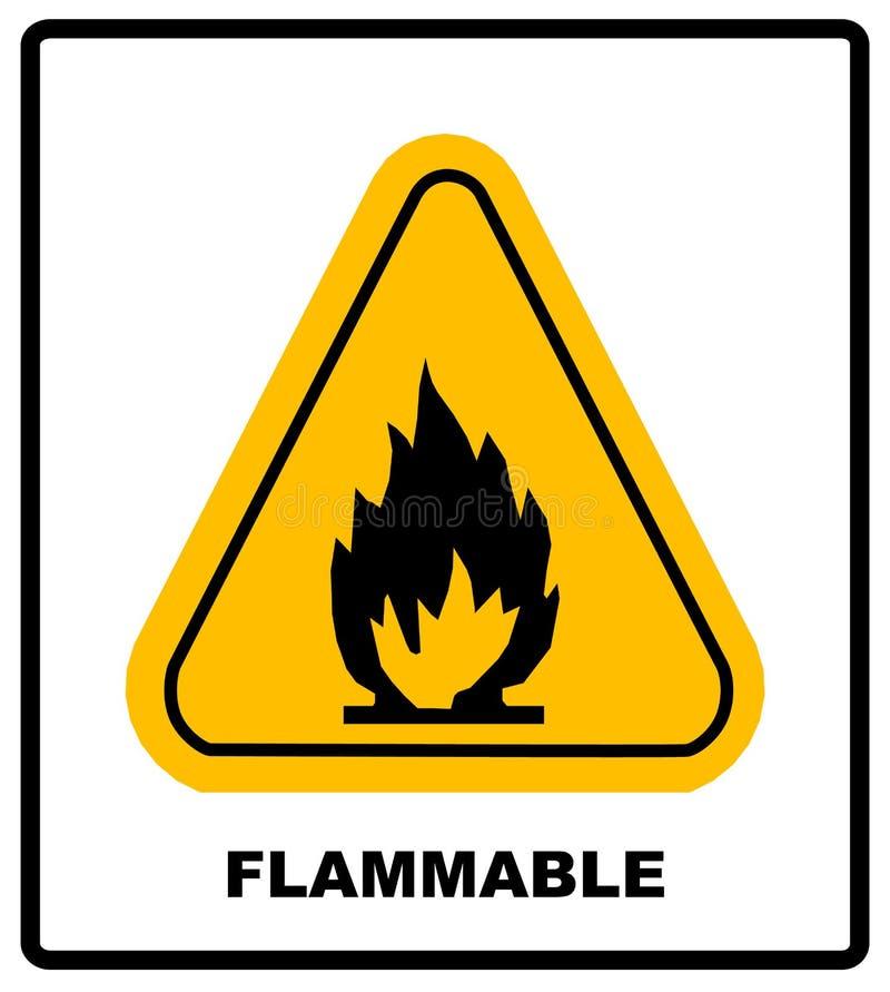 Brandwaarschuwingsbord in gele driehoek Hoge Brandbare Materialen royalty-vrije illustratie